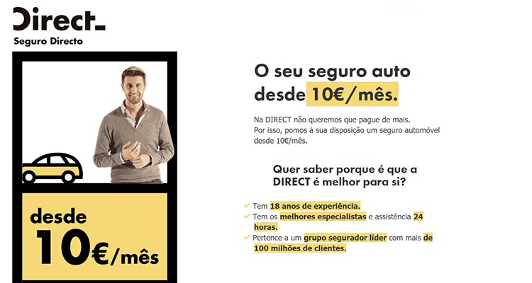 Seguro Auto a partir de 10 Euros/Mês