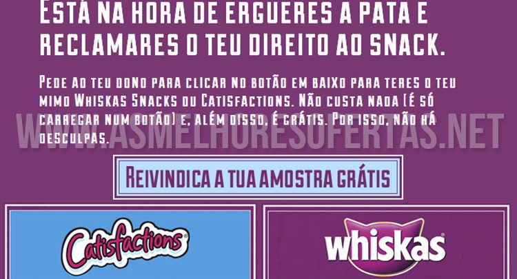 Amostras Grátis de Catisfactions Whiskas