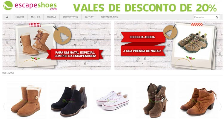 Photo of Vales de 20% de Desconto Escapeshoes