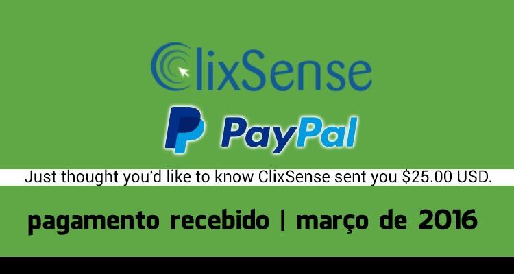 Pagamento Clixsense Março 2016