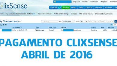 Pagamento Clixsense Abril 2016