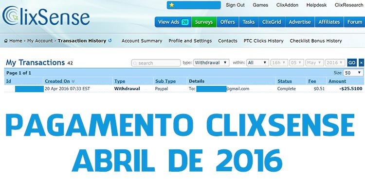 Photo of Pagamento Clixsense Abril 2016