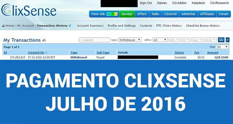 Photo of Pagamento Clixsense Julho 2016