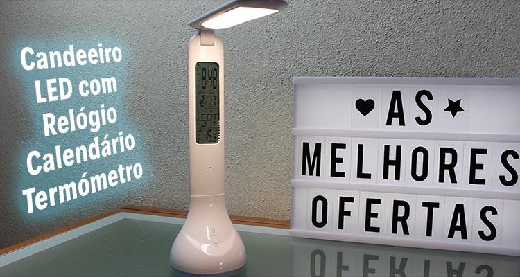 Photo of Candeeiro LED com Relógio e Termómetro